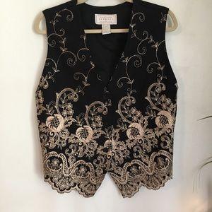 Vintage express black with gold embroidered vest